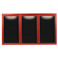 Aarco OADC4872-3IR 48 inch x 72 inch Enclosed Hinged Locking 3 Door Powder Coated Red Aluminum Outdoor Lighted Message Center with Black Letter Board