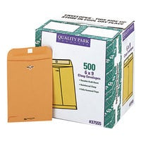 Quality Park 37555 #55 6 inch x 9 inch Brown Kraft Clasp / Gummed Seal File Envelope - 500/Case