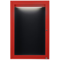 Aarco OADC2418IR 24 inch x 18 inch Enclosed Hinged Locking 1 Door Powder Coated Red Aluminum Outdoor Lighted Message Center with Black Letter Board