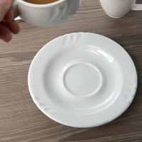 Oneida R4190000500CBA Briana 6 1/16 inch Bright White Porcelain Saucer - 36/Case