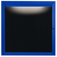 Aarco OADC3636IB 36 inch x 36 inch Enclosed Hinged Locking 1 Door Powder Coated Blue Aluminum Outdoor Lighted Message Center with Black Letter Board