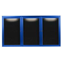 Aarco OADC4896-3IB 48 inch x 96 inch Enclosed Hinged Locking 3 Door Powder Coated Blue Aluminum Outdoor Lighted Message Center with Black Letter Board