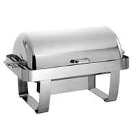 Oneida J0010001 Noblesse 8 qt. Oblong Stainless Steel Roll Top Chafer with 180 Degree Roll Top Cover