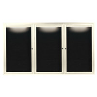 Aarco OADC4872-3IIV 48 inch x 72 inch Enclosed Hinged Locking 3 Door Powder Coated Ivory Aluminum Outdoor Lighted Message Center with Black Letter Board