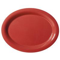 GET OP-135-CR Cranberry Diamond Harvest 13 1/2 inchx 10 1/4 inch Oval Platter - 12/Case