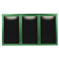 Aarco OADC4872-3IG 48 inch x 72 inch Enclosed Hinged Locking 3 Door Powder Coated Green Aluminum Outdoor Lighted Message Center with Black Letter Board
