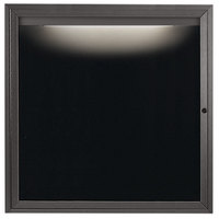Aarco OADC3636IBA 36 inch x 36 inch Enclosed Hinged Locking 1 Door Bronze Anodized Aluminum Outdoor Lighted Message Center with Black Letter Board