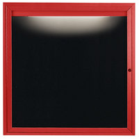 Aarco OADC3636IR 36 inch x 36 inch Enclosed Hinged Locking 1 Door Powder Coated Red Aluminum Outdoor Lighted Message Center with Black Letter Board
