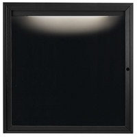 Aarco OADC3636IBK 36 inch x 36 inch Enclosed Hinged Locking 1 Door Powder Coated Black Aluminum Outdoor Lighted Message Center with Black Letter Board
