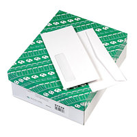 Quality Park 21332 #10 4 1/8 inch x 9 1/2 inch White Gummed Seal Business Envelope with Window - 500/Box