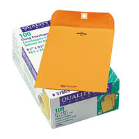 Quality Park 37863 #63 6 1/2 inch x 9 1/2 inch Brown Kraft Clasp / Gummed Seal File Envelope - 100/Box