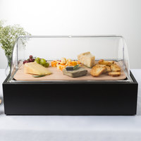Vollrath Cubic 22 7/16 inch x 14 9/16 inch x 12 9/16 inch Black Bread Display Tray with Clear Lid and Hardwood Cutting Board