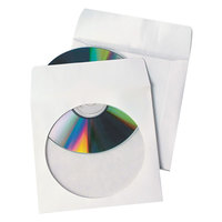 Quality Park 77203 Tech-No-Tear 5 3/4 inch x 5 3/4 inch CD/DVD Sleeve, White - 100/Box
