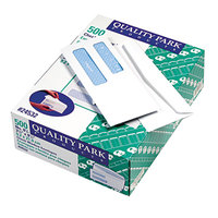 Quality Park 24532 #8 5/8 3 5/8 inch x 8 5/8 inch White Gummed Seal Security Tinted Check Envelope with 2 Windows   - 500/Box
