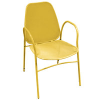 American Tables & Seating 96-Y Yellow Mesh Outdoor Powder-Coated Metal Chair