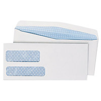 Quality Park 24550 #10 4 1/8 inch x 9 1/2 inch White Gummed Seal Security Tinted Check Envelope with 2 Windows - 500/Box