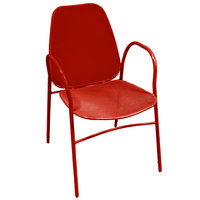 American Tables & Seating 96-R Red Mesh Outdoor Powder-Coated Metal Chair
