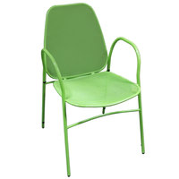 American Tables & Seating 96-G Green Mesh Outdoor Powder-Coated Metal Chair