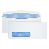 Quality Park 90130 #10 4 1/8 inch x 9 1/2 inch White Gummed Seal Security Tinted Business Envelope with Window - 500/Box