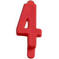 1 inch Red Molded Plastic Number 4 Deli Tag Insert - 50 / Set