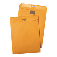 Quality Park 43568 ClearClasp #90 9 inch x 12 inch Brown Kraft Clasp File Envelope with Redi-Tac Seal - 100/Box