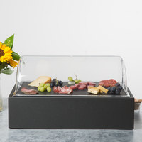 Vollrath Cubic 22 7/16 inch x 14 9/16 inch x 12 9/16 inch Black Food Display Platter with Clear Lid