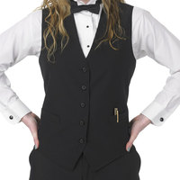 Women's XX-Small Black Full Cloth Back 2 3/4 inch Extended Server Vest