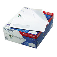 Columbian CO170 Poly-Klear #10 4 1/8 inch x 9 1/2 inch White Gummed Seal Business Envelope with Single Window - 500/Box