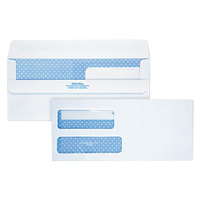 Quality Park 24519 #9 3 7/8 inch x 8 7/8 inch White Security Tinted Business Envelope with 2 Windows and Redi-Seal   - 250/Case