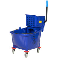 Lavex Janitorial 35 Qt. Blue Mop Bucket & Side Press Wringer Combo