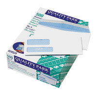 Quality Park 24524 #9 8 7/8 inch x 3 7/8 inch White Gummed Seal Security Tinted Check Envelope with 2 Windows - 500/Box