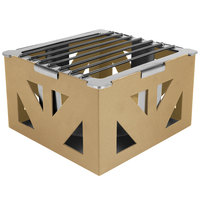 Eastern Tabletop 1741RZ LeXus 8 inch x 8 inch x 5 inch Bronze Coated Steel Cube with Grate and Fuel Shelf