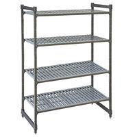 Cambro CBU184864V4580 Camshelving® Basics Plus Vented 4-Shelf Stationary Starter Unit - 18 inch x 48 inch x 64 inch