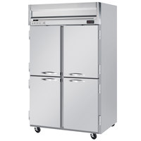 Beverage Air HF2-1HS 2 Section Solid Half Door Reach-In Freezer - 49 cu. ft., Stainless Steel Front, Gray Exterior
