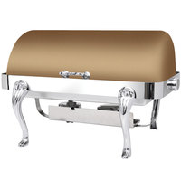 Eastern Tabletop 3114QARZ Queen Anne 8 Qt. Rectangular Bronze Coated Stainless Steel Roll Top Chafer
