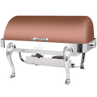 Eastern Tabletop 3114QACP Queen Anne 8 Qt. Rectangular Copper Coated Stainless Steel Roll Top Chafer