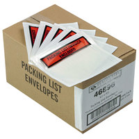 Quality Park 46896 4 1/2 inch x 5 1/2 inch Clear / Orange Top Print Packing List Envelope with Window and Self Adhesive Seal - 1000/Case