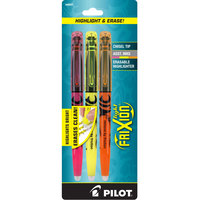 Pilot 46507 Frixion Lite Assorted 3-Color Chisel Tip Pen Style Erasable Highlighter - 3/Pack