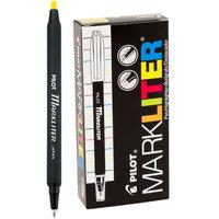Pilot 45600 Markliter Black Ballpoint Pen and Fluorescent Yellow Chisel Tip Highlighter - 12/Pack