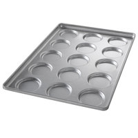 Chicago Metallic 41002 15 Mold Glazed Individual Hamburger Bun / Muffin Top / Cookie Pan