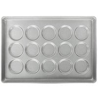 Chicago Metallic 41002 15 Mold Glazed Customizable Individual Hamburger Bun / Muffin Top / Cookie Pan