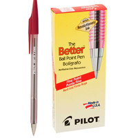 Pilot 37011 Better Red Ink with Tinted Barrel 0.7mm Ball Point Stick Pen - 12/Pack