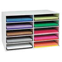 Pacon 001316 18 1/2 inch x 26 7/8 inch White 10 Compartment Corrugated Paper Storage Box