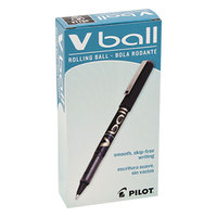 Pilot 35112 VBall Black Ink with Black Barrel 0.7mm Roller Ball Stick Pen - 12/Pack