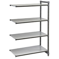 Cambro CBA184864S4580 Camshelving® Basics Plus Solid 4-Shelf Add On Unit - 18 inch x 48 inch x 64 inch
