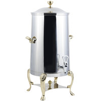 Bon Chef 48001-1-E Lion 1.5 Gallon Insulated Stainless Steel Electric Coffee Chafer Urn with Brass Trim