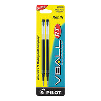 Pilot 77283 VBall Black Ink Extra-Fine Point Rolling Ball Retractable Pen Refill - 2/Pack