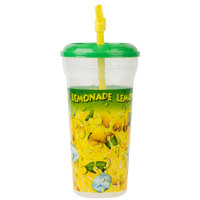 32 oz. Clear Tall Plastic Souvenir Lemonade Cold Cup with Straw and Lid - 300/Case