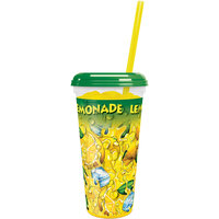 32 oz. Clear Tall Plastic Lemonade Souvenir Cup with Straw and Lid - 300/Case
