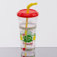 32 oz. Clear We Squeeze to Please Tall Plastic Souvenir Cup with Straw and Lid - 300/Case